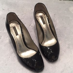 Dolce &Gabbana black patent leather wedges